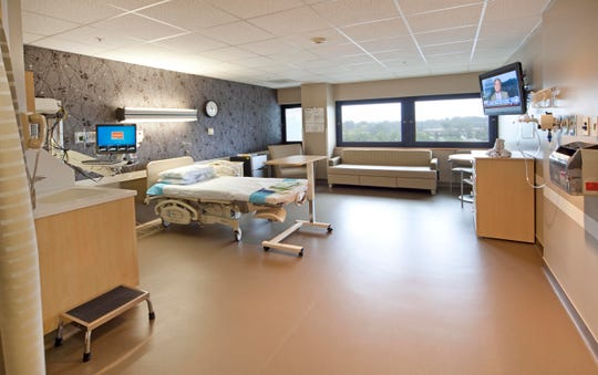 One of the newly-renovated and state-of-the art maternity rooms at Hunterdon Medical Center in Flemington, where the doctors and midwives at All Women's Healthcare are affiliated