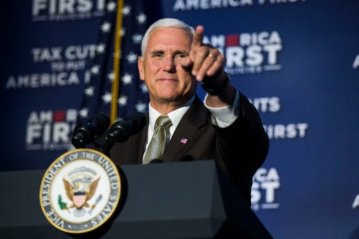 Mike Pence, Vice President of the United States, points to a person in the crowd while speaking to Iowans on Wednesday, Aug. 15, 2018, at the Iowa Events Center in Des Moines.