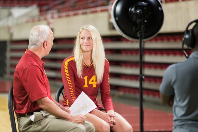 Senior Jess Schaben is interviewed by Cyclones.tv during Iowa State volleyball media day Aug. 14, 2018, in Hilton Coliseum.
