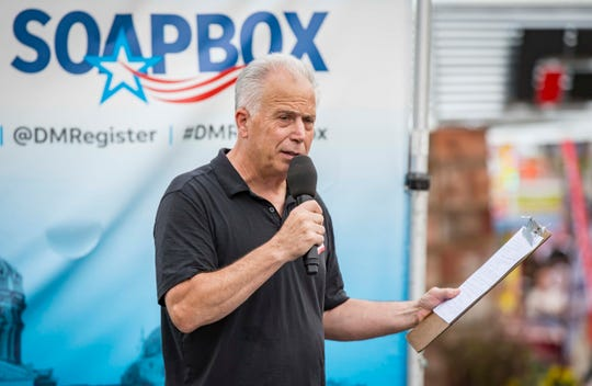 Independent Joe Grandanette speaks during the Des Moines Register Political Soapbox at the Iowa State Fair, Wednesday, Aug. 15, 2018, in Des Moines, Iowa.