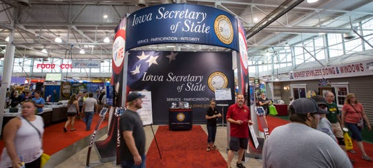 The Iowa Secretary of State's booth at the Iowa State Fair, Tuesday, Aug. 14, 2018, in the Varied Industries Building.