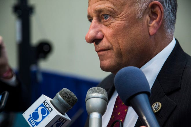 Rep. Steve King talks to the media on Wednesday, Aug. 15, 2018, during an America First Policies event in Des Moines.