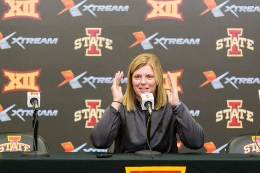 Head Coach Christy Johnson Lynch Talks To The Press Aug 14 During Iowa State Volleyball S Media Day In Hilton Coliseum