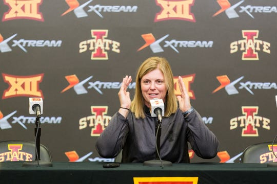 Iowa State volleyball coach Christy Johnson Lynch speaks Aug. 14, 2018, during media day.