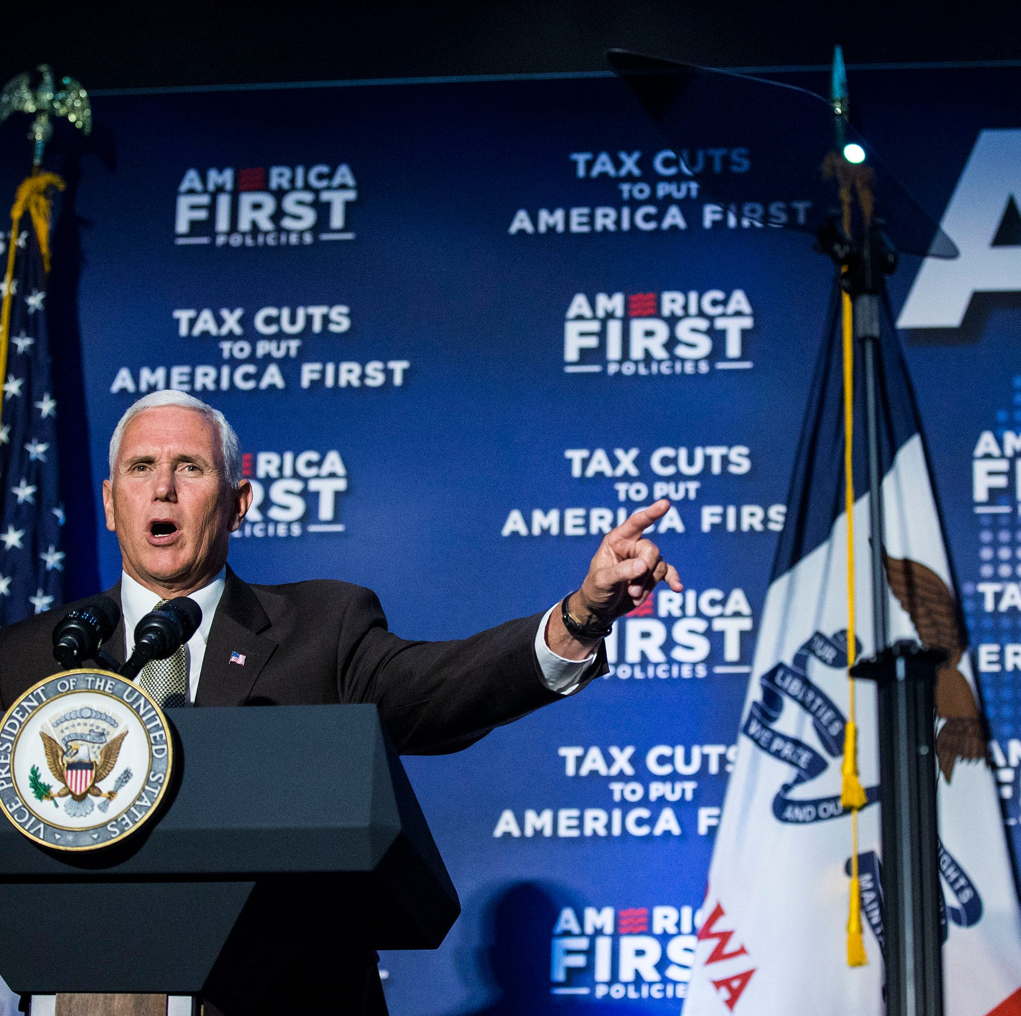 Vice President Mike Pence gives a speech at the America First Policies event in Des Moines on Wednesday, Aug. 15, 2018, at the Iowa Events Center.