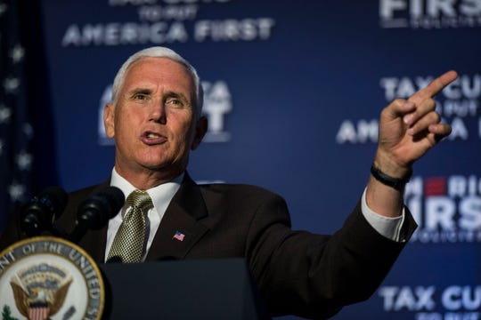 Vice President Mike Pence speaks to a group of over 200 people at America First Policies' event on Wednesday, Aug. 15, 2018, at the Iowa Events Center in Des Moines.