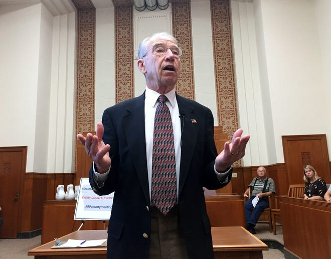 U.S. Sen. Chuck Grassley, R-Iowa, speaking at a town hall meeting on Sept. 1, 2016 at the Jones County Courthouse in Anamosa, Iowa.