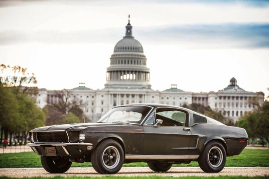 """The 1968 Ford Mustang GT made famous by the Warner Bros. cult film """"Bullitt"""" was displayed in 2018 on the National Mall in Washington, D.C. The car will be on site for the Woodward Dream Cruise in Detroit."""