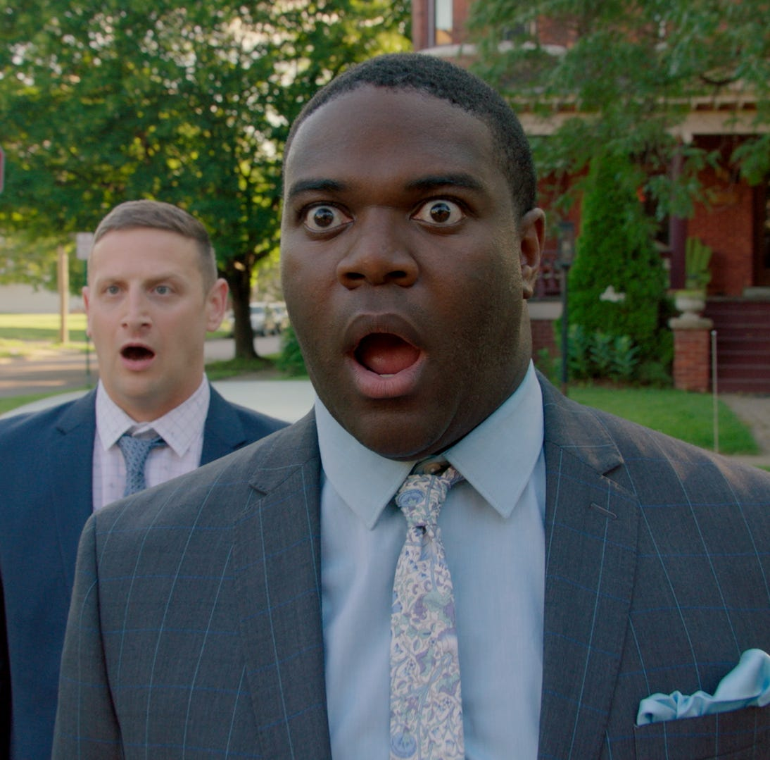 From left: Tim Robinson and Sam Richardson in a scene from the second season finale of Comedy Central's 'Detroiters.'