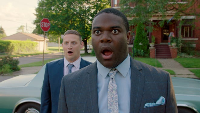 "Tim Robinson, left, and Sam Richardson in a scene from the second season finale of Comedy Central's ""Detroiters."""