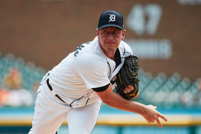 Tigers pitcher Jordan Zimmermann pitches in the first inning on Wednesday, Aug. 15, 2018, at Comerica Park.