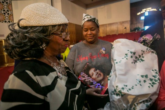 Aretha Franklin's personal secretary Fannie Tyler, left, greets well wishers and media after a prayer vigil for Franklin at the New Bethel Baptist Church on Wednesday, August 15, 2018.