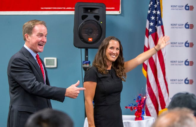 Republican gubernatorial candidate Bill Schuette announces Kent County Clerk Lisa Posthumus Lyons as his choice for lieutenant governor at the Kent County GOP headquarters in Grand Rapids on Wednesday, Aug. 15, 2018.
