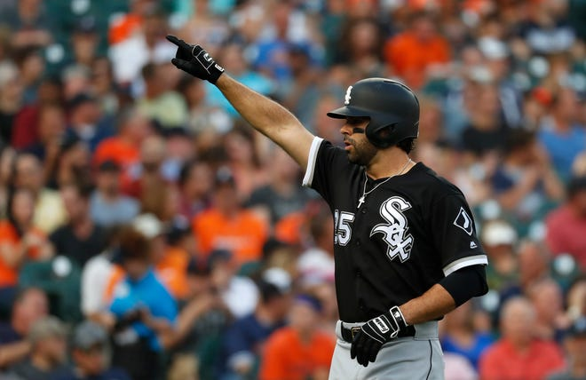 Chicago White Sox's Ryan LaMarre celebrates hitting a solo home run in the second inning of a baseball game against the Detroit Tigers in Detroit, Tuesday, Aug. 14, 2018.