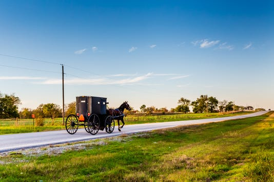 Horse And Carriage On Highway In Oklahoma