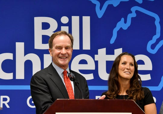 Republican gubernatorial candidate Bill Schuette announces he has selected Lisa Posthumus Lyons as his running mate during an event at Kent County Republican Headquarters in Grand Rapids Wednesday.