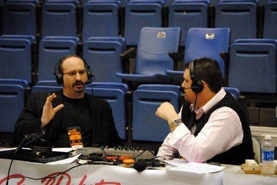 Neal Ruhl, right, and Mario Impemba worked together on Oakland men's basketball broadcasts.