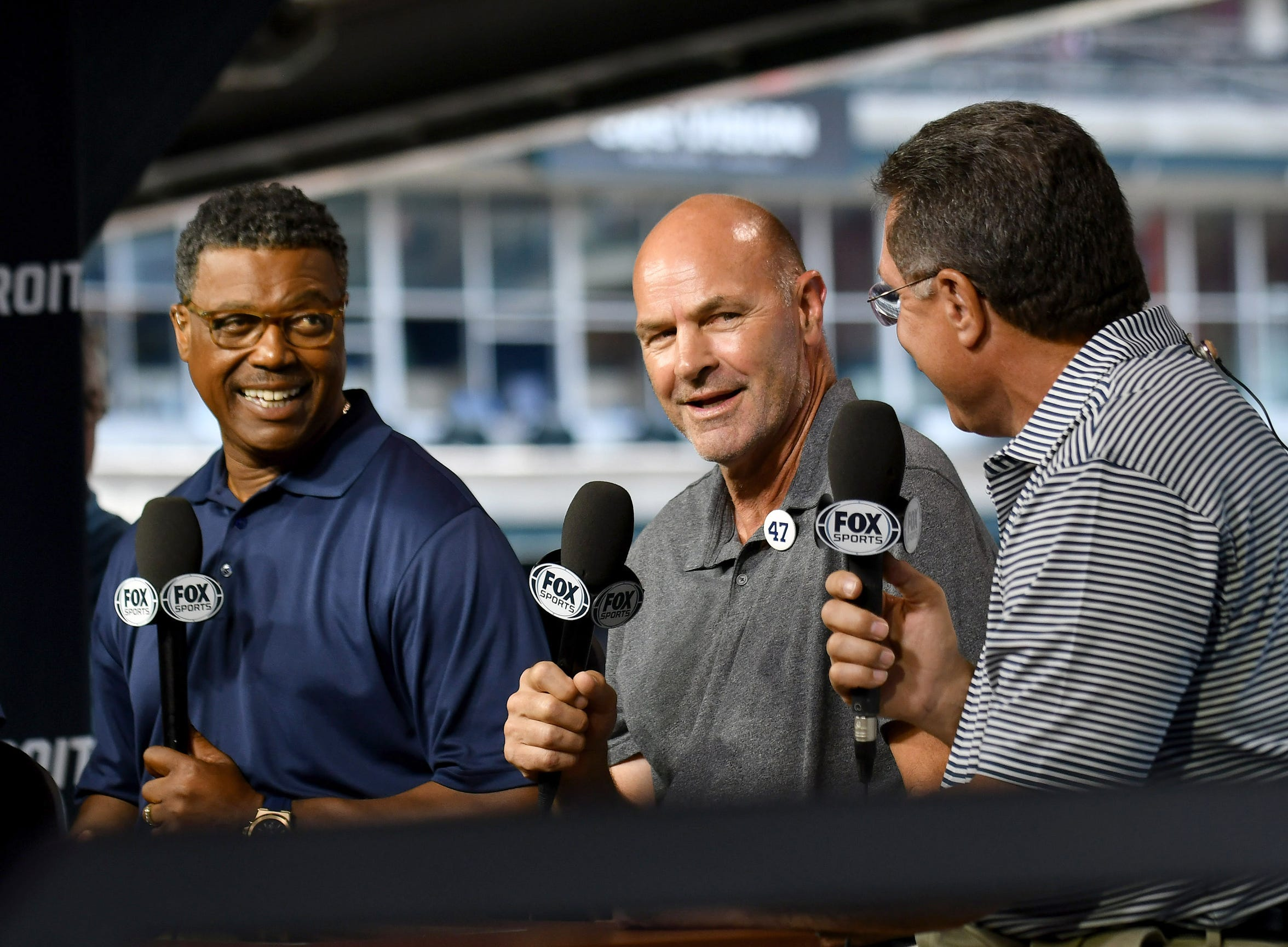 Fox Sports Detroit analysts Kirk Gibson, center, Rod Allen, left, and former catcher Lance Parrish talk about former Tigers pitcher Jack Morris during a pregame segment earlier this month.