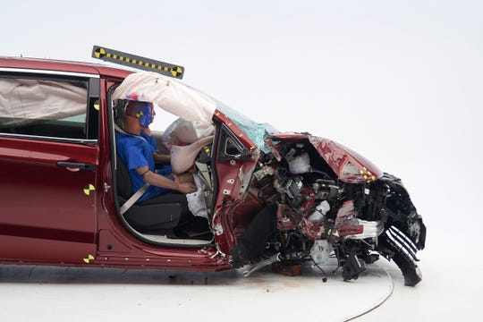 The 2018 Chrysler Pacifica was rated Acceptable. The dummy's position in relation to the door frame and dashboard after the crash test indicates that the passenger's survival space was not maintained well (Institute test car shown).