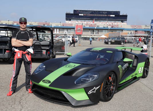 Nascar Star Kurt Busch Brought His  Ford Gt Supercar To Practice At Michigan International Speedway In Brooklyn Michigan On Saturday August