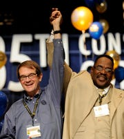 Bob King and General Holiefield at the UAW convention at Cobo Center in Detroit in June 2010.