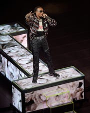 Offset a member of Migos performs on stage.**Drake concert with Amigos at Little Caesars Arena. August 14, 2018, Detroit, Mi. News)