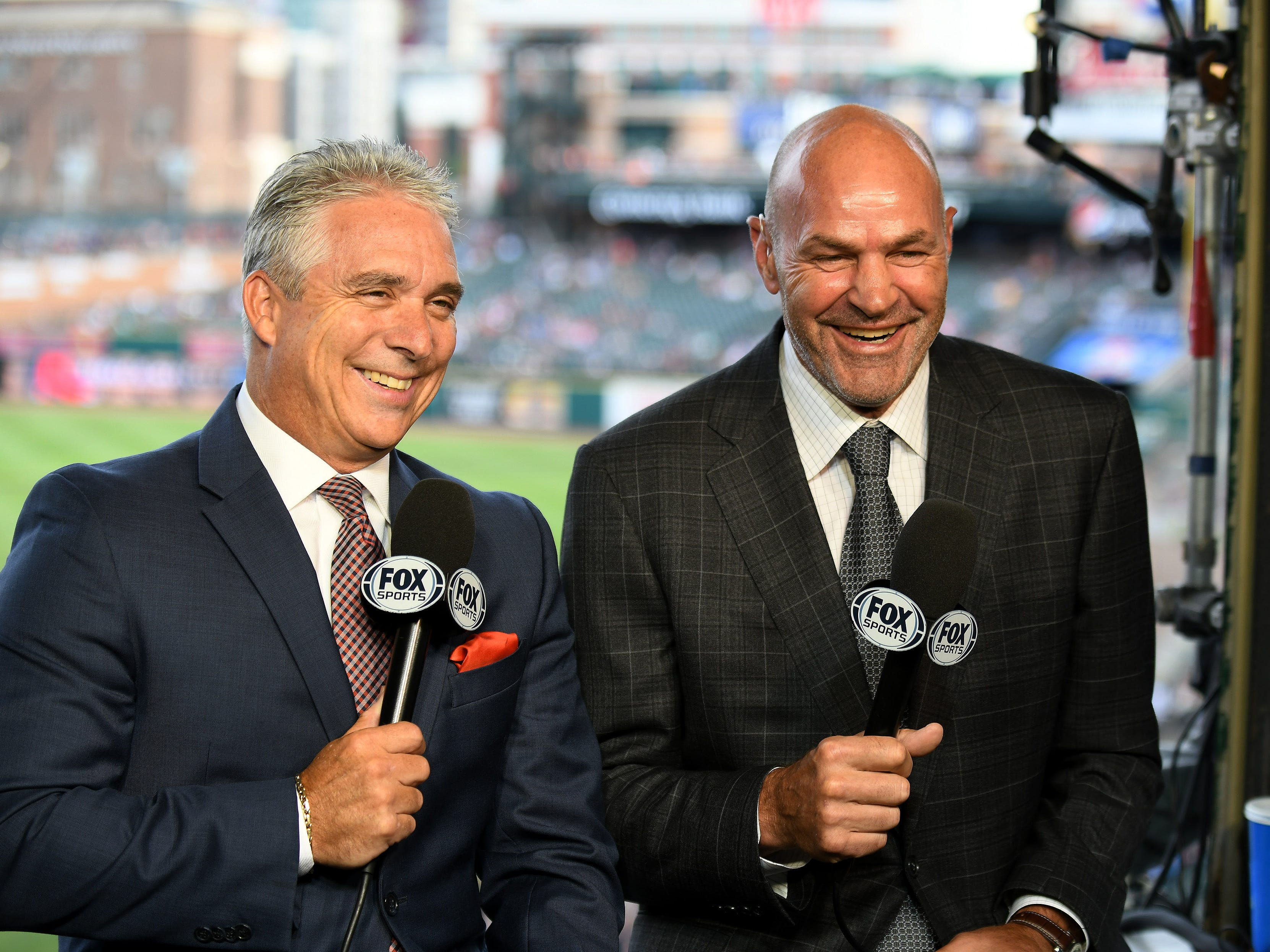 Kirk Gibson has some fun with fellow Fox Sports Detroit broadcaster Matt Shepard during a segment of a pregame show in the FSD booth at Comerica Park. Gibson shows up at the ballpark four hours before the broadcast, taking notes during Ron Gardenhire's press sessions.
