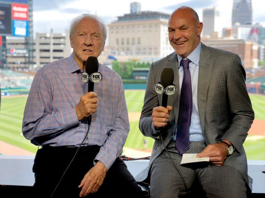 Al Kaline, left, and Kirk Gibson in the FSD booth at Comerica Park.