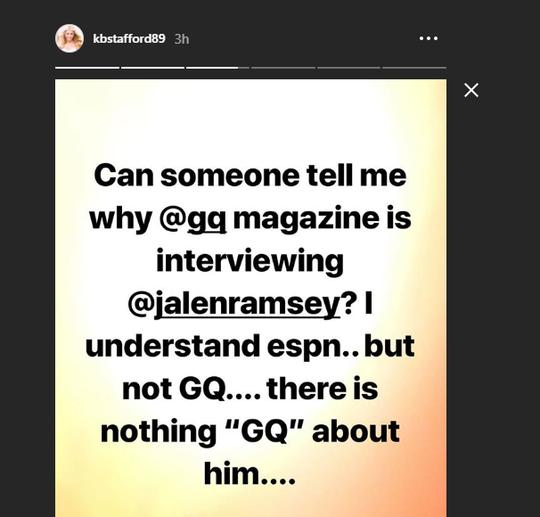 Kelly Stafford's response to Jalen Ramsey on Instagram