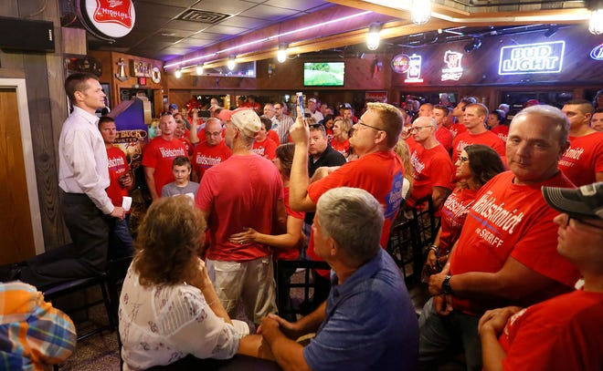 Fond du Lac County Sheriff elect Ryan Waldschmidt address supporters Tuesday at Schmitty's Oar House in Fond du Lac after winning the primary election for Fond du Lac County Sheriff.