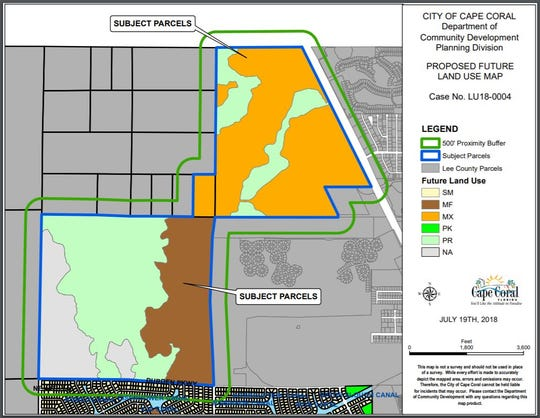 A map shows in brown the 200 acres off Durden Parkway East that the Cape Coral Planning and Zoning Commission designated for multifamily housing Wednesday.
