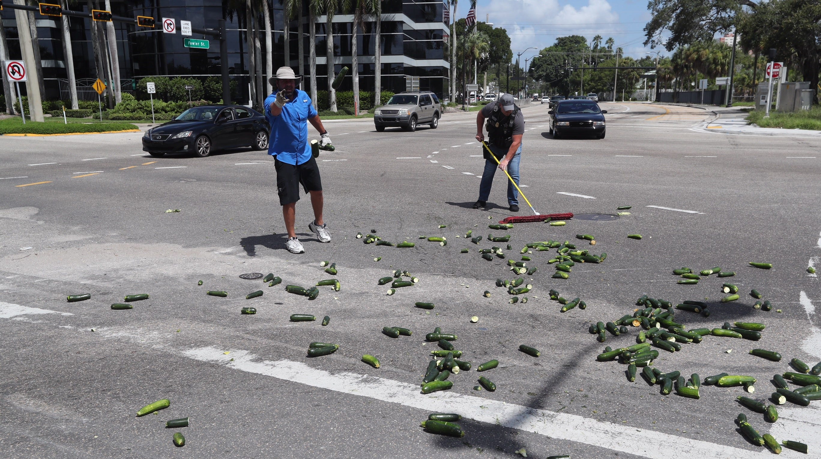 This zucchini got squashed: Boxes of zucchini fall off truck, block Fort Myers intersection