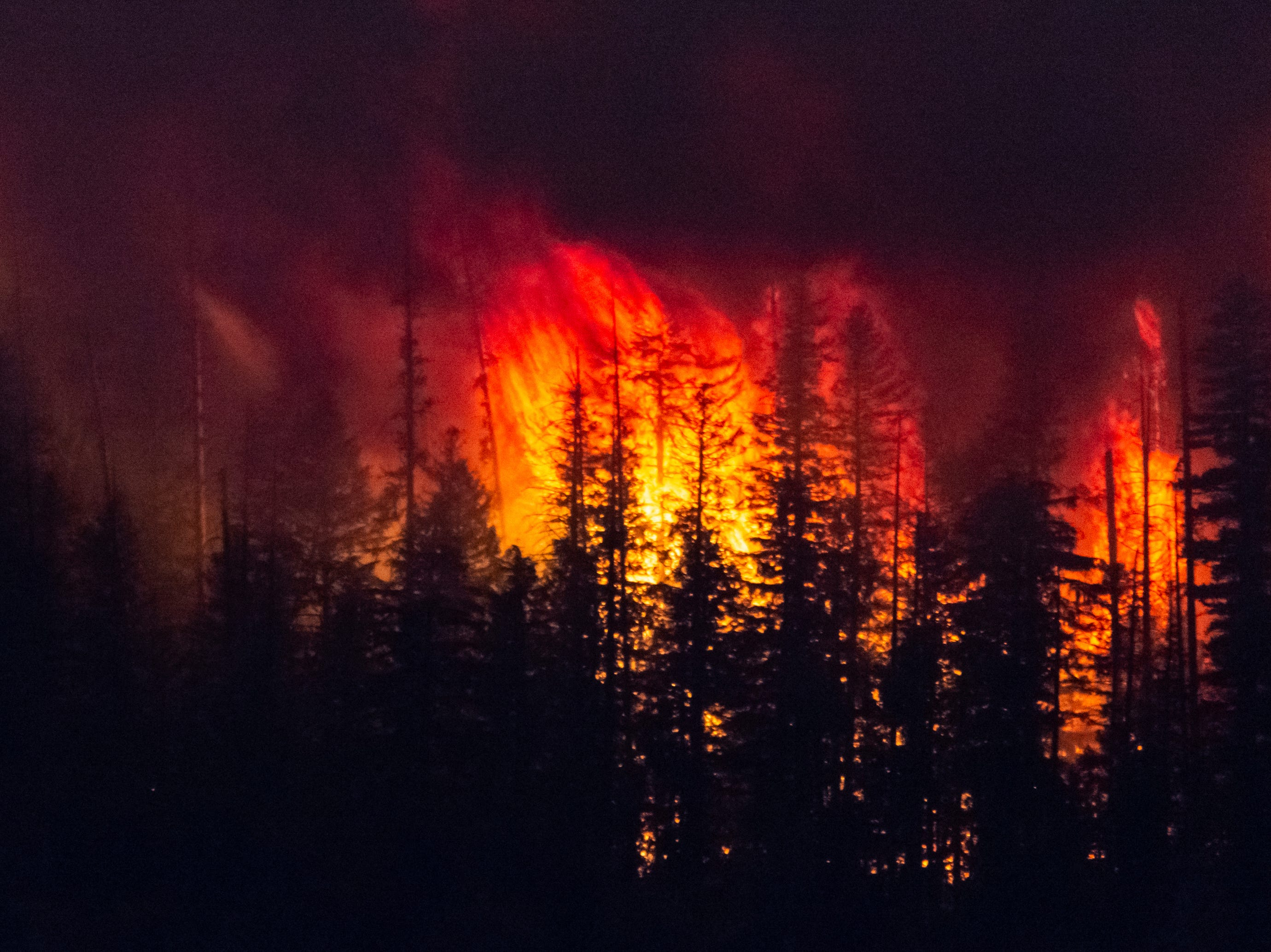 In this Sunday, Aug. 12, 2018 photo, the Howe Ridge Fire burns at Glacier National Park, Mont. At least nine homes and cabins in a historic district of Glacier National Park have been destroyed in a wildfire that raged through the Montana park's busiest area and prompted the hasty evacuation of hundreds of visitors. Park officials said Tuesday, Aug. 14, 2018, that the lost buildings include the so-called Big House at Kelly's Camp, a resort developed early last century serving auto travelers along Glacier's famous Going-to-the-Sun Road. (Kristy Pancoast via AP)