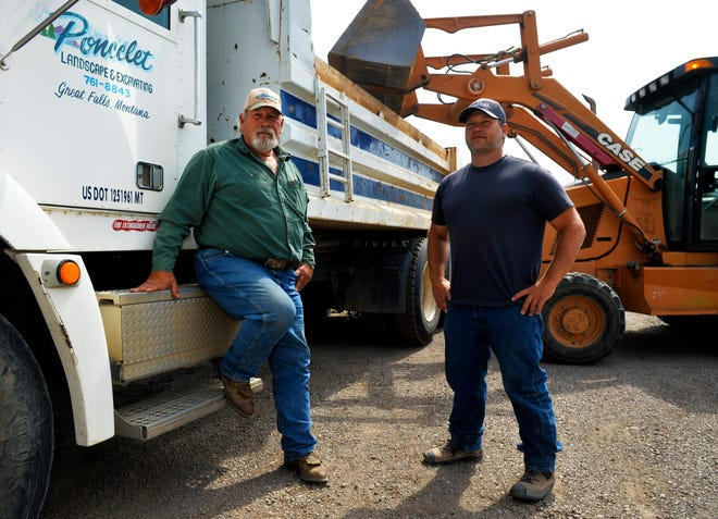 Jeff Poncelet, left, ran Poncelet Landscape and Excavating until his son Cameron, right, bought him out recently.  Cameron has rebranded the business, Poncelet Excavating, and carries on the as the fourth generation of the Poncelet family business.