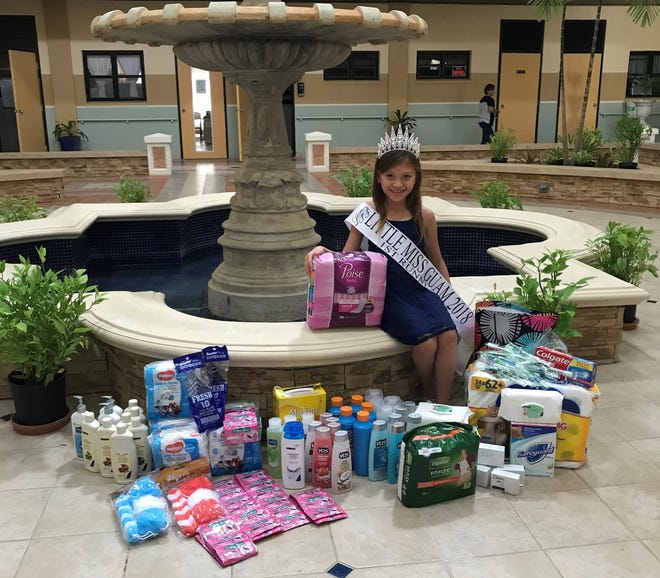Zoiejean Tecahira, first runner up for  Little Miss Guam 2018, under Leah's Fabulous Production, recently completed her toiletry drive for St. Dominic's called Lift Up with Love. Zoie collected hygiene products and some food items that were distributed to the residents in the home on Aug. 12.  She will continue to do drives quarterly during her reign. She is the daughter of James and Suzanne Jean Techaira and goes to Ordot Chalan Pago Elementary School. She is managed by the team at Pitbull Empire.