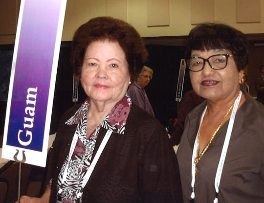 Two delegates from the Catholic Daughters of the Americas court Our Lady of Camarin #2047 of Hagåtña at the 57th Biennial National Convention held at Sious Falls, South Dakota from July 16-22. Pictured from left: Priscilla Muna and Terry Alegarbes.