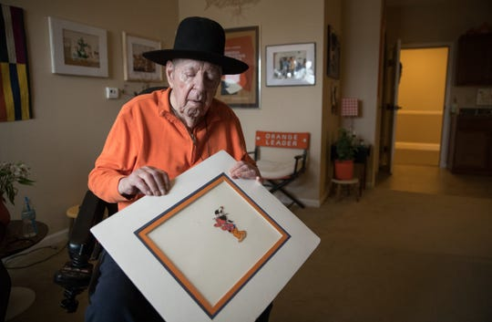 Keith Bratton, an illustrator who ran an ad agency for years, created a controversial character in 1981 called Injun Andy (shown) for the Indiana State Fair, and at 92, is at his home in an assisted living location in Fishers, Wednesday, Aug. 15, 2018.