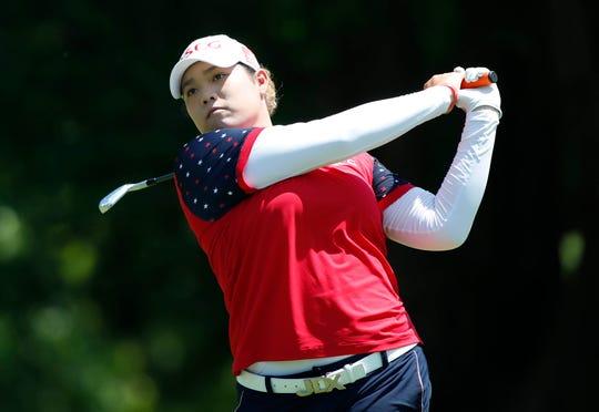 Jun 29, 2018; Kildeer, IL, USA; Ariya Jutanugarn hits her tee shot on the 10th hole during the second round of the KPMG Women's PGA Championship golf tournament at Kemper Lakes Golf Club. Mandatory Credit: Brian Spurlock-USA TODAY Sports