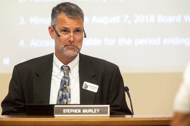 Stephen Murley is seen during a board meeting on Tuesday, Aug. 14, 2018, at the Iowa City Community School District offices in Iowa City.