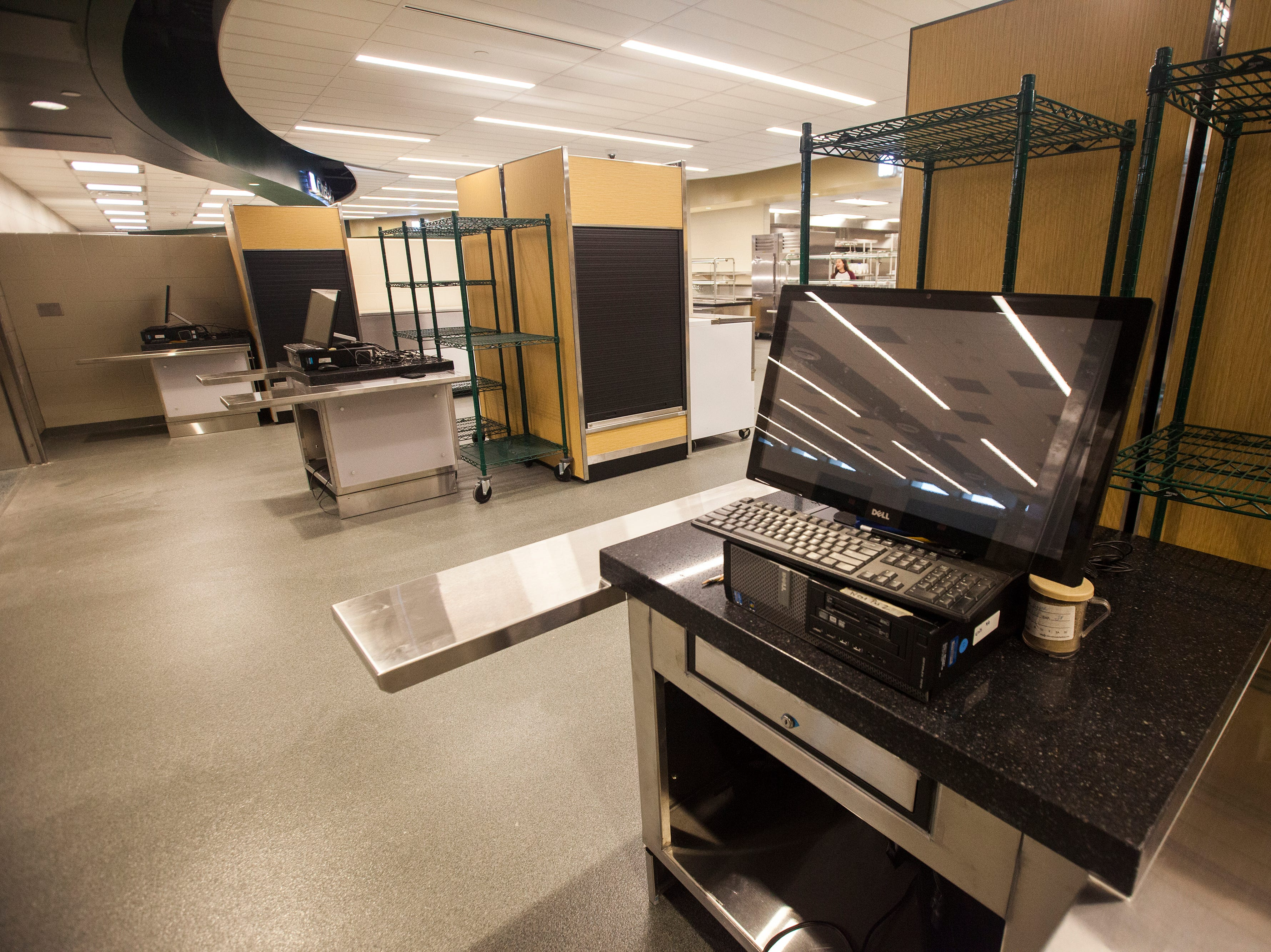 A checkout machine is seen inside the cafeteria during a tour of a recently completed addition to facilities on Wednesday, Aug. 15, 2018, at West High School in Iowa City. The addition was the first phase of renovations set to take place for the building that opened in 1968.