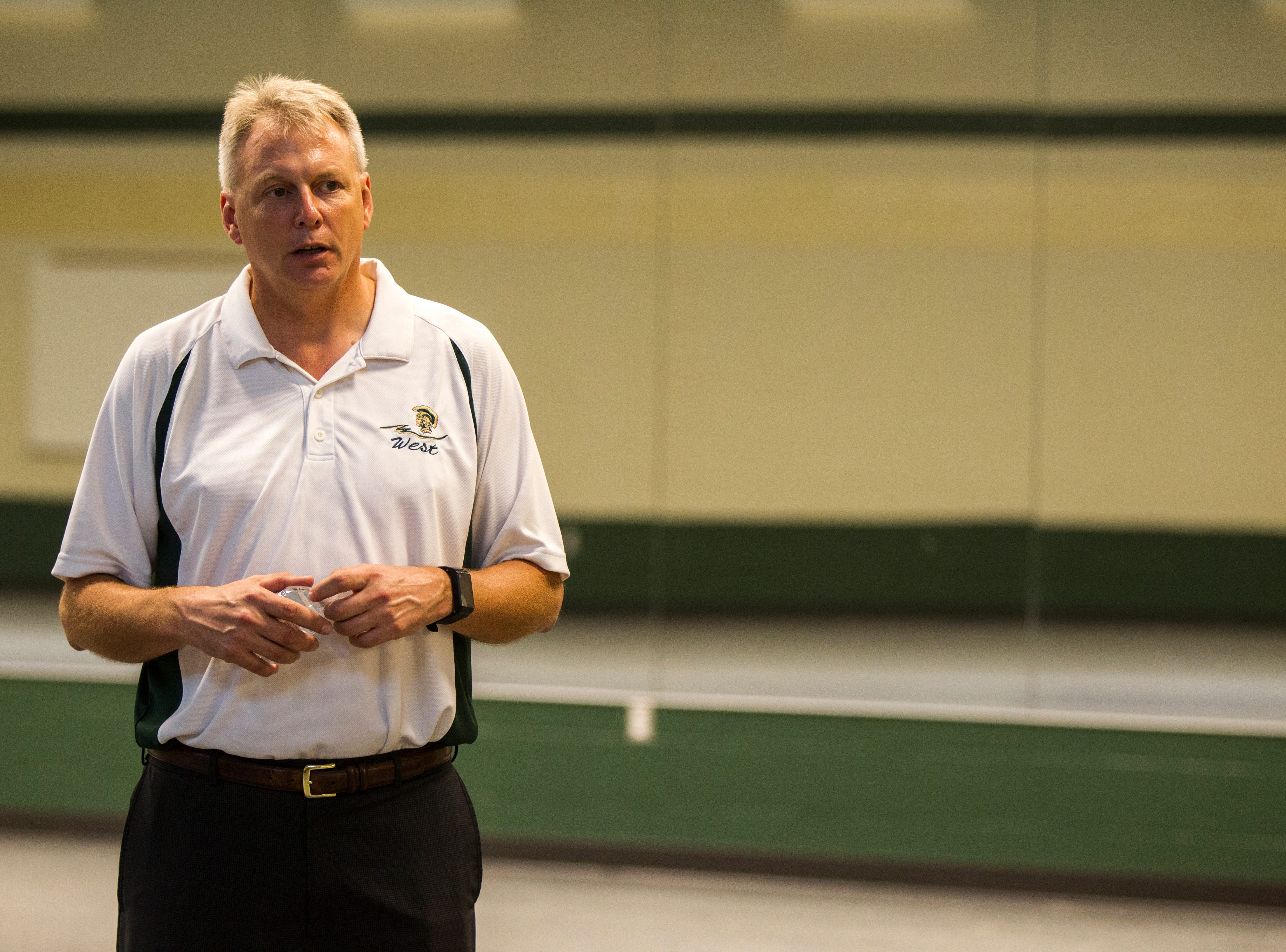 Gregg Shoultz, West High principal, speaks in a weight room during a tour of a recently completed addition to facilities on Wednesday, Aug. 15, 2018, at West High School in Iowa City. The addition was the first phase of renovations set to take place for the building that opened in 1968.