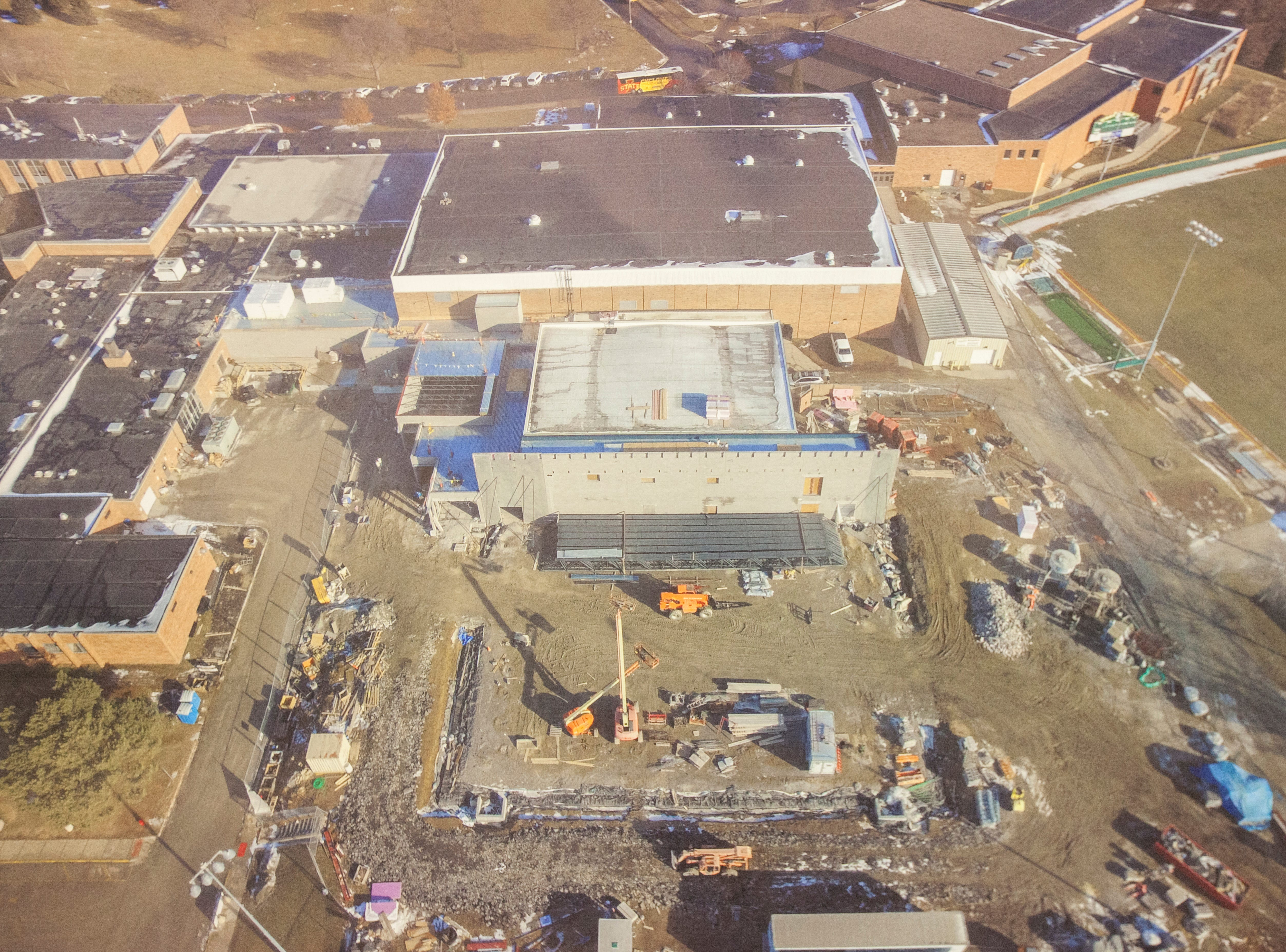 An aerial photo of construction of a new practice gym is seen during a tour of a recently completed addition to facilities on Wednesday, Aug. 15, 2018, at West High School in Iowa City. The addition was the first phase of renovations set to take place for the building that opened in 1968.
