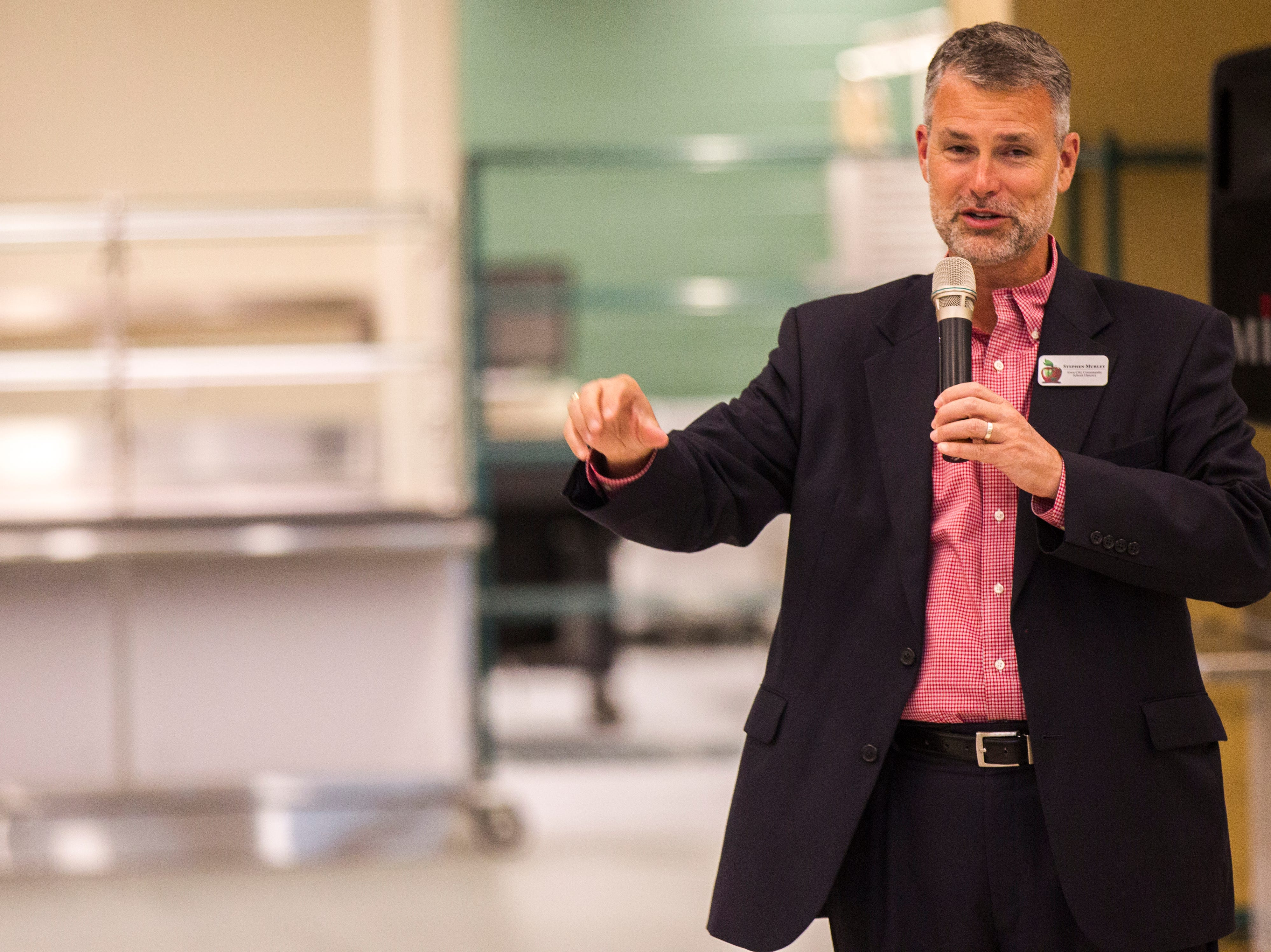 Stephen Murley, Iowa City Community School District superintendent, speaks during a tour of a recently completed addition to facilities on Wednesday, Aug. 15, 2018, at West High School in Iowa City. The addition was the first phase of renovations set to take place for the building that opened in 1968.