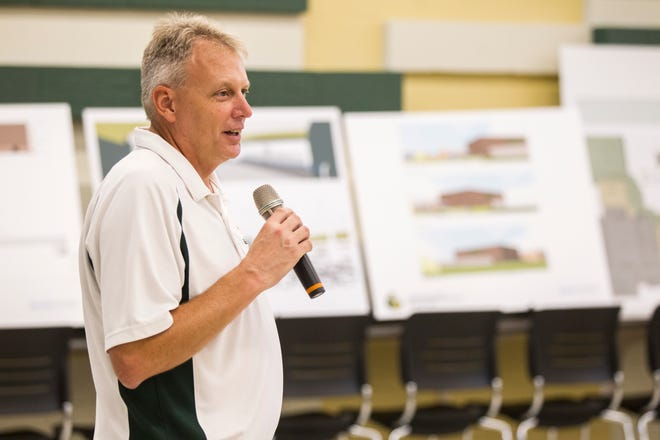 Gregg Shoultz, West High principal, speaks during a tour of a recently completed addition to facilities on Wednesday, Aug. 15, 2018, at West High School in Iowa City. The addition was the first phase of renovations set to take place for the building that opened in 1968.