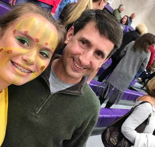 "Madison Lafferty with her dad, Justin Lafferty, just after her performance in ""The Lion King"" at the Episcopal School of Knoxville, February 2018."