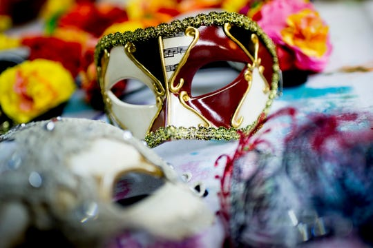 "Masks for the Lisbon dancers are seen in the prop shop ahead of opening day for ""Candide"" at the Clarence Brown Theatre in Knoxville on Aug. 14. Leonard Bernstein's acclaimed operetta will open Aug. 31, with previews beginning Aug. 29."