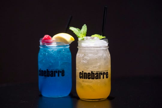 """A photo of the Volunteer Tailgate Mule  """"jartail"""" and the Blue Raspberry Spiked Lemonade """"jartail"""" at Regal's new Cinebarre location in West Town Mall Thursday, Aug. 9, 2018."""
