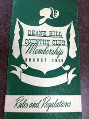 A membership book from Deane Hill Country Club, 1950.