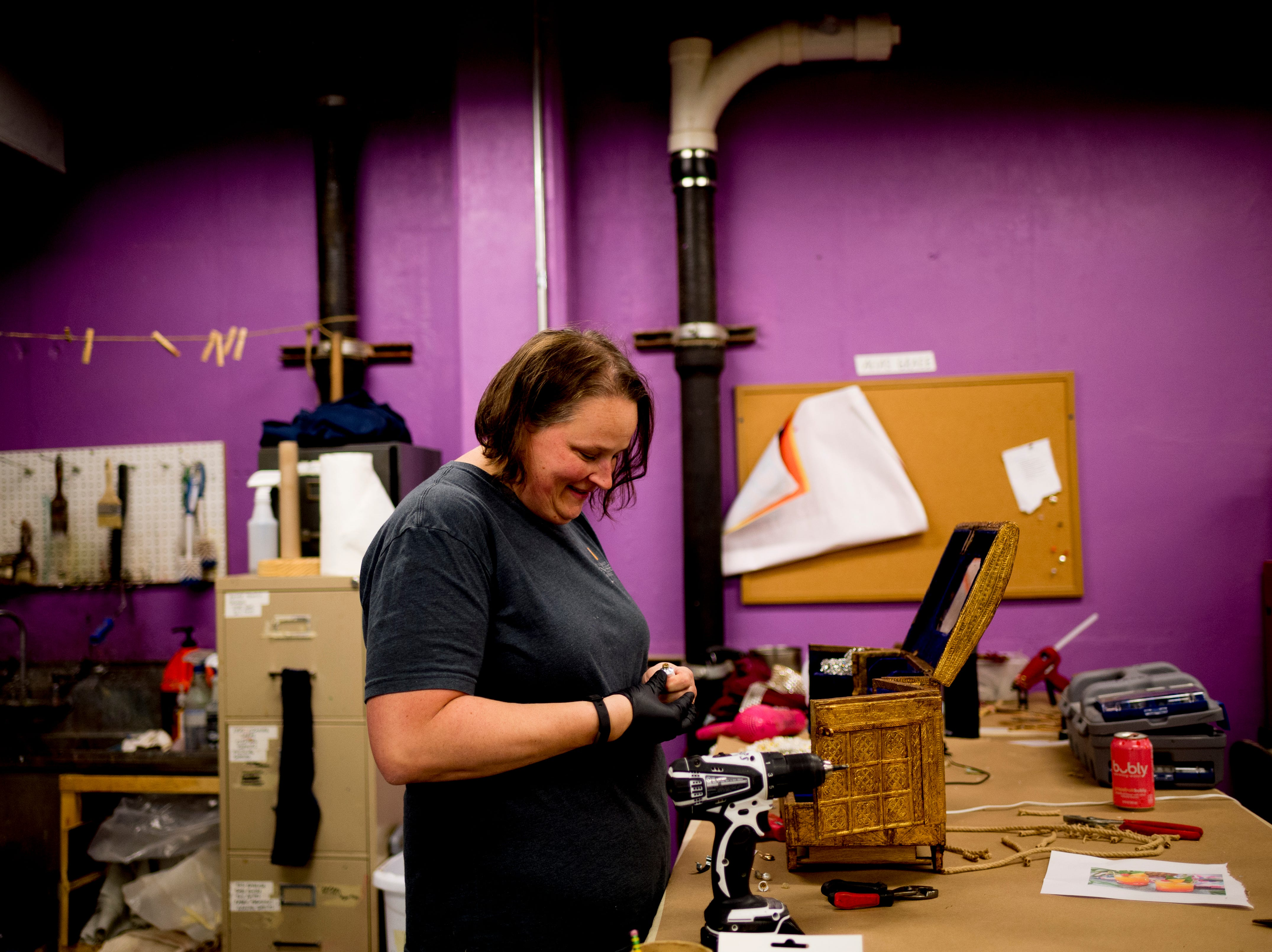 Prop Shop Supervisor Christy Fogarty prepares a jewelry chest ahead of opening day for Candide at the Clarence Brown Theatre  in Knoxville, Tennessee on Tuesday, August 14, 2018. Leonard BernsteinÕs acclaimed operetta, Candide, is to open Friday, August 31, with previews beginning August 29.
