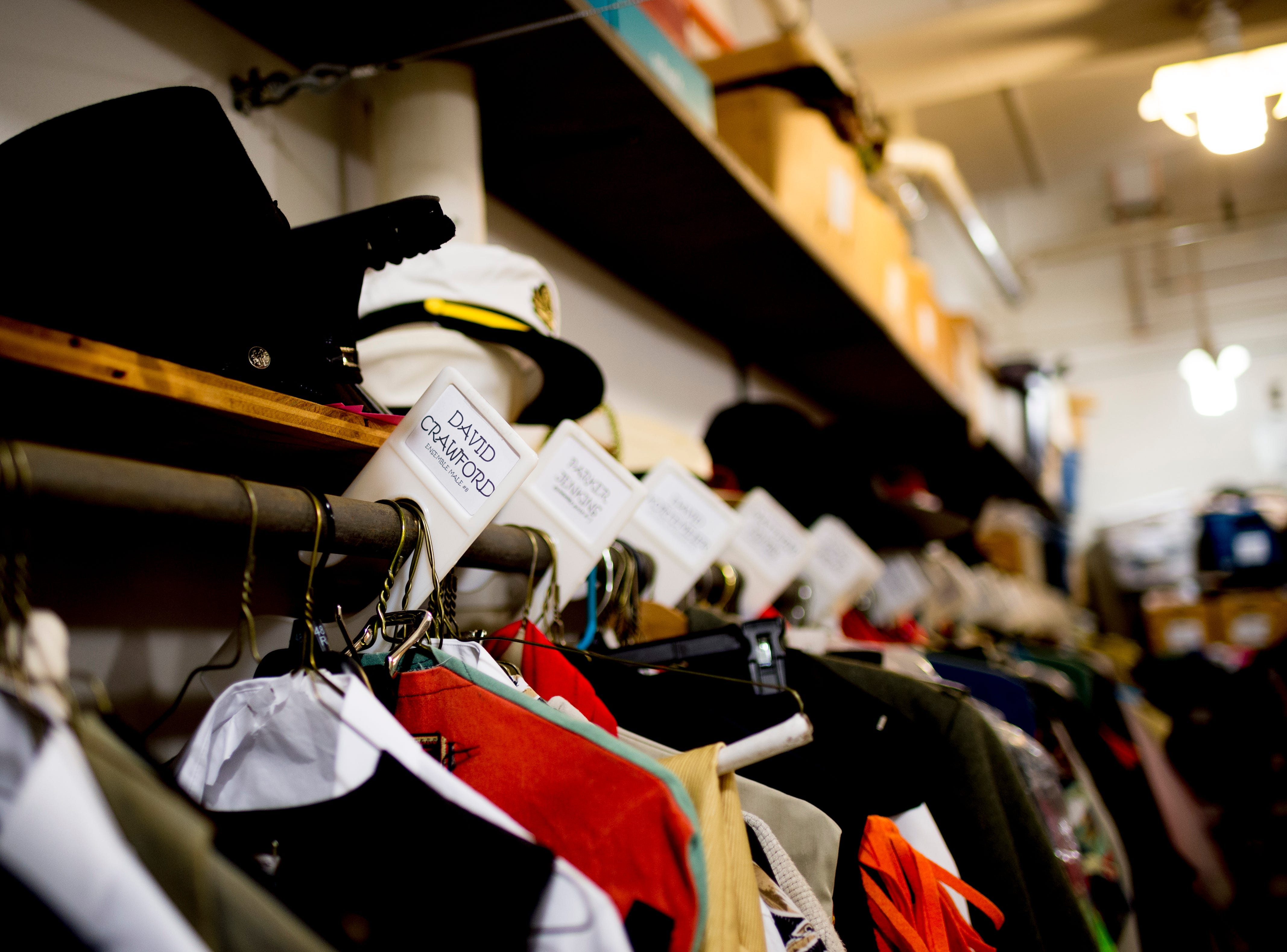 Costumes hang on the rack in the costume shop ahead of opening day for Candide at the Clarence Brown Theatre  in Knoxville, Tennessee on Tuesday, August 14, 2018. Leonard BernsteinÕs acclaimed operetta, Candide, is to open Friday, August 31, with previews beginning August 29.